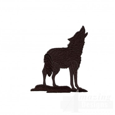 Swnmw141 Silhouette Howling Wolf Embroidery Design