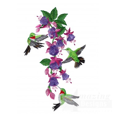 Swnhe143 Hummingbird Enchantment Embroidery Design