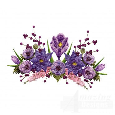 Swnfl219 Flourishing Flowers Embroidery Design