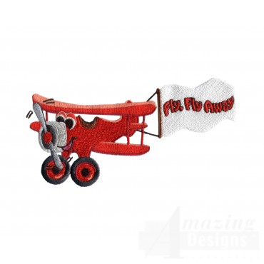 Swncpc110 Red Biplane Embroidery Design