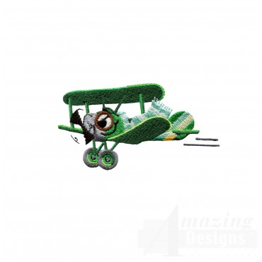Swncpc111 Green Biplane Embroidery Design