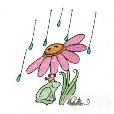 Flower with Frog and Raindrops
