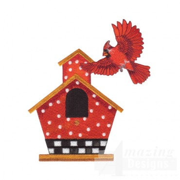 Cardinal and Birdhouse