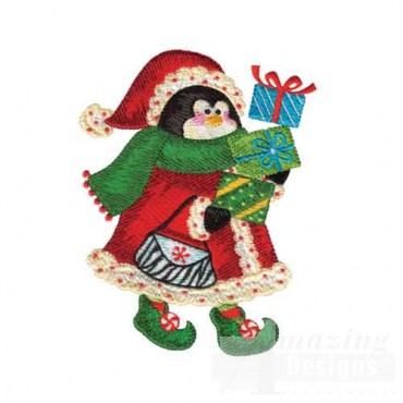 Penguin in Santa Suit