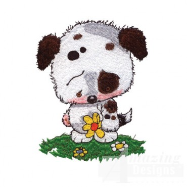 Puppy with Flower