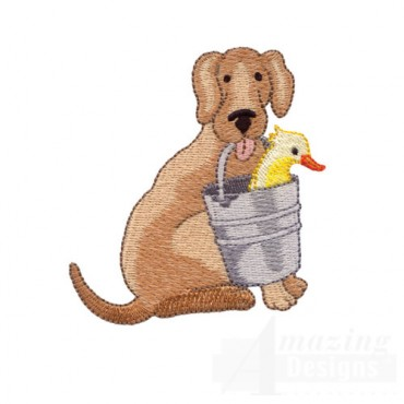 Dog Carrying Duck in Pail