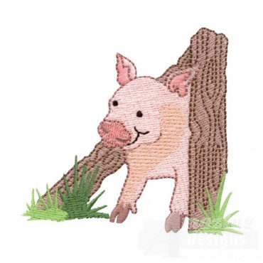 Pig Peeking Through Fence