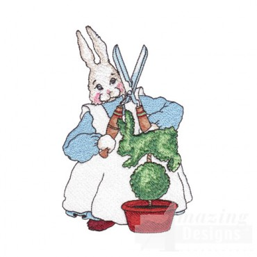 Rabbit Trimming a Bush