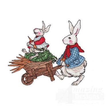 Rabbits with a wheel barrel