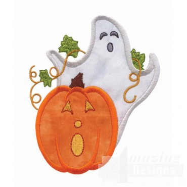 Ghost And Pumpkin Applique 2