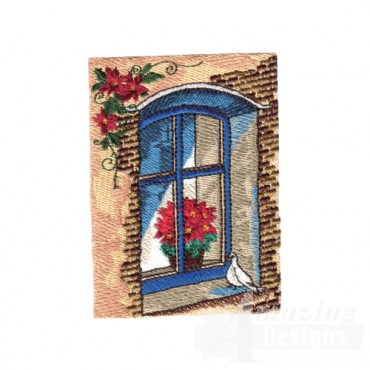 Poinsettia In Window