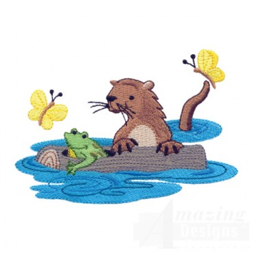 Otter Frog And Butterflies
