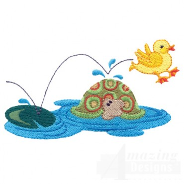Jumping Duck With Turtle