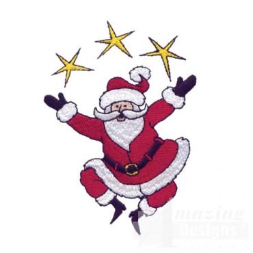 Santa Juggling Stars
