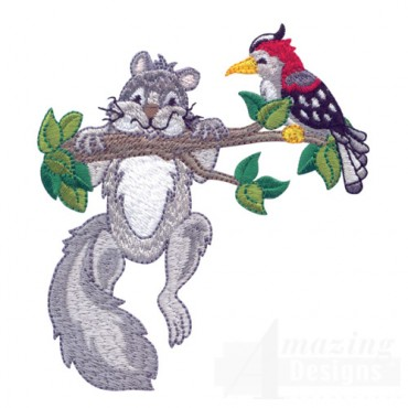 Squirrel And Woodpecker