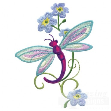 Dragonfly With Flowers 2