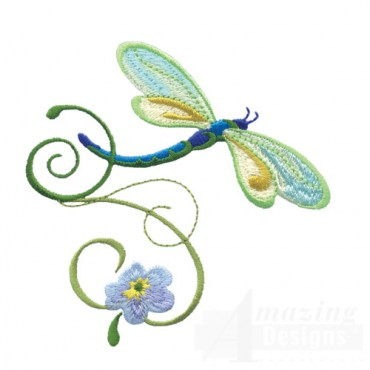 Dragonfly With Flowers 7