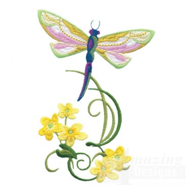 Dragonfly With Flowers 10
