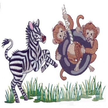 Zebra And Monkeys