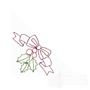 Ribbon And Holly Embroidery Design