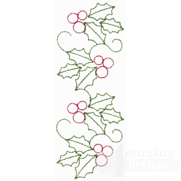 Holly Line Embroidery Design