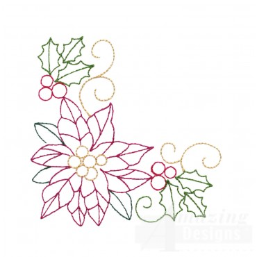 Holly And Poinsettia Corner Embroidery Design