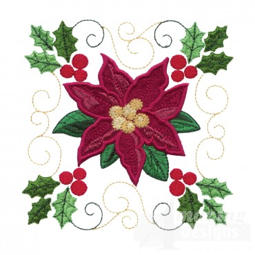 Poinsettia Applique Embroidery Design