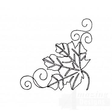Leaf Quilt Corner Embroidery Design