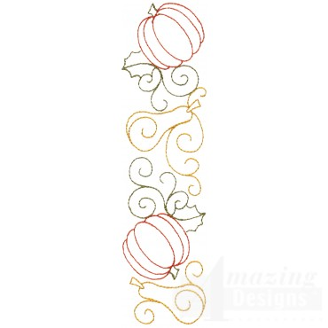 Pumpkin And Squash Line Embroidery Design