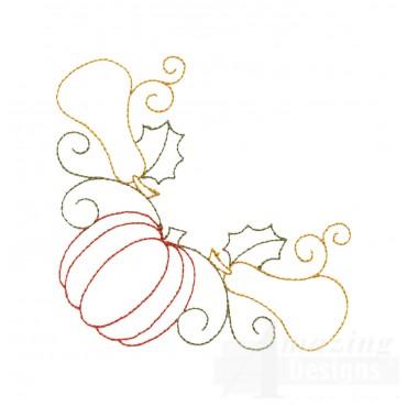 Pumpkin And Squash Corner Embroidery Design