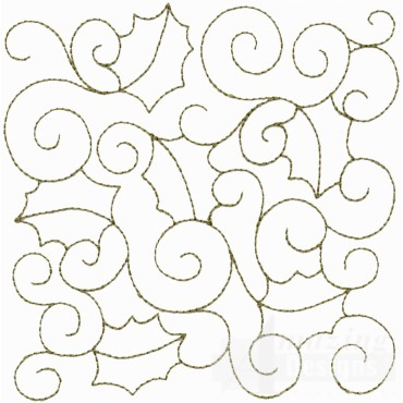 Leaf And Vine Outline Embroidery Design