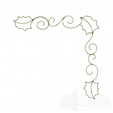 Leaf And Vine Corner Embroidery Design