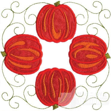 Four Pumpkins Applique Embroidery Design