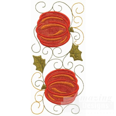 Two Pumpkins Applique Embroidery Design