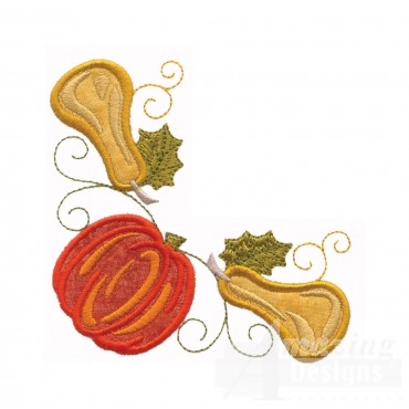 Pumpkin And Squash Applique Corner Embroidery Design