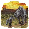 Scenic Rhinoceros Serengeti Embroidery Design