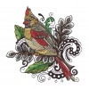 Cardinal Birds and Blooms Doodles Embroidery Design
