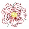 Single Cosmos Sulphureus Embroidery Design