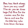 Baa Baa Black Sheep Text Embroidery Design