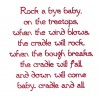 Rock A Bye Baby Text Embroidery Design