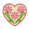 Pink Daisy Heart Folk Art Embroidery Design