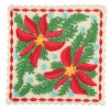 Poinsettia Square 2 Ornament Embroidery Design