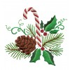 Pine Holly And Candy Cane Embroidery Design