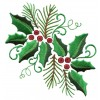 Holly And Pine Embroidery Design