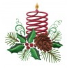 Pine Cone Candle And Holly Embroidery Design