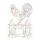 Rooster on Fence Good Morning Heartland Embroidery Design