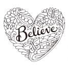 Believe Heartfelt Doodle Embroidery Design