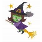 Witch on Broom Embroidery Design