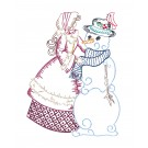 Belle and Snowman Merry Belles Embroidery Design