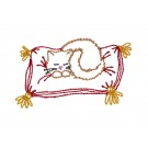 Napping Cat Merry Belles Embroidery Design